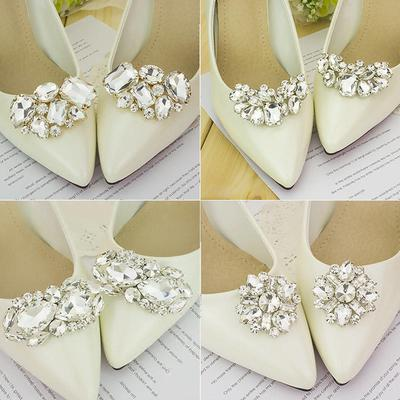 Shoe decorations prices and delivery of goods from china on joom e 1 pair bridal wedding shoes cips decor shoe clip crystal charm decoration accessories junglespirit Choice Image