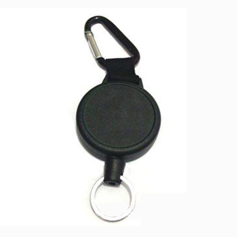 Black Retractable Key Chain Reel Steel Cord Recoil Belt Key Ring Badge Holder LE