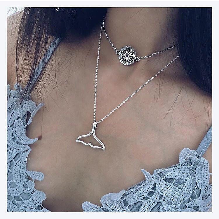 c74d459fda15 Moda Retro tatuaje doble collar sol flor colgante moda joyas regalo bohemio  de la mujer - comprar a precios bajos en la tienda en línea Joom