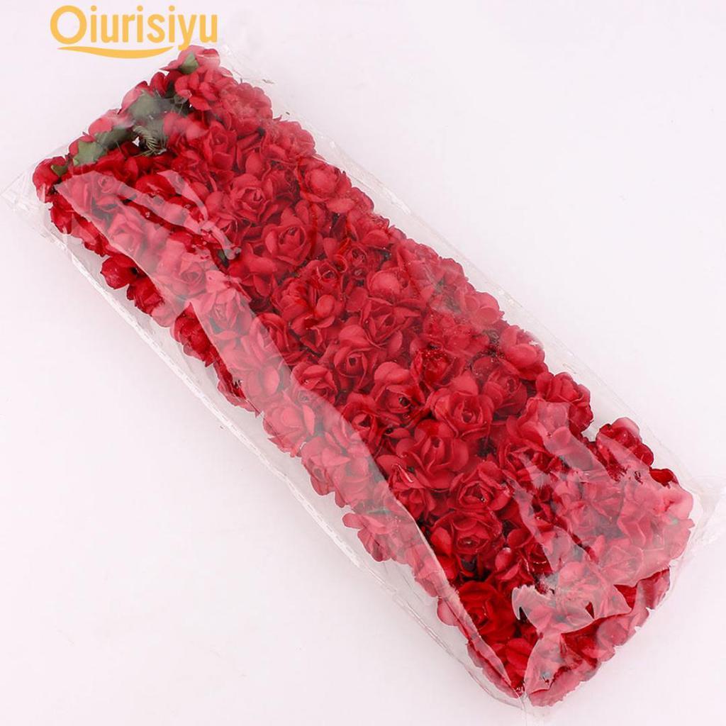 Hot 144pcs Paper Artificial Rose Flowers Handmade DIY Card Crafts Embellishment