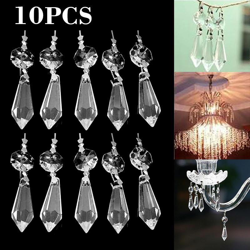 10Pcs 22mm Clear Crystal Glass Beaded Chandelier Light Prisms Decor Pendant