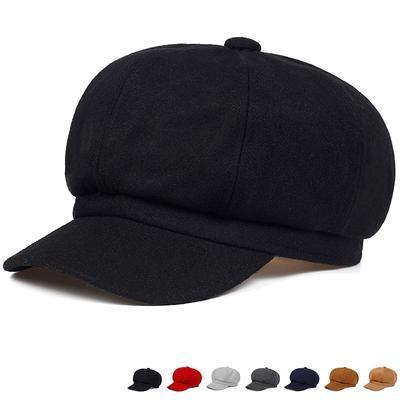 Fashion Retro Beret Hats Wool Winter Warm Hat Women Hip-hop Captain Cap