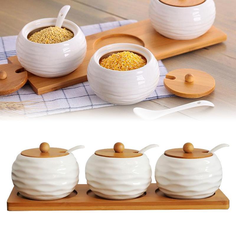 Bamboo Wood Seasoning Spice Storage Container Jar Japanese Ceramic Kitchenware