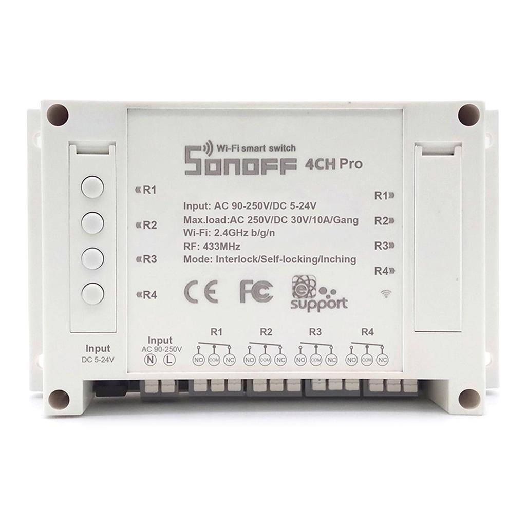 Sonoff 4CH pro R2 10A 2200W 2.4Ghz 433MHz RF Tippbetrieb//Selbsthemmung//