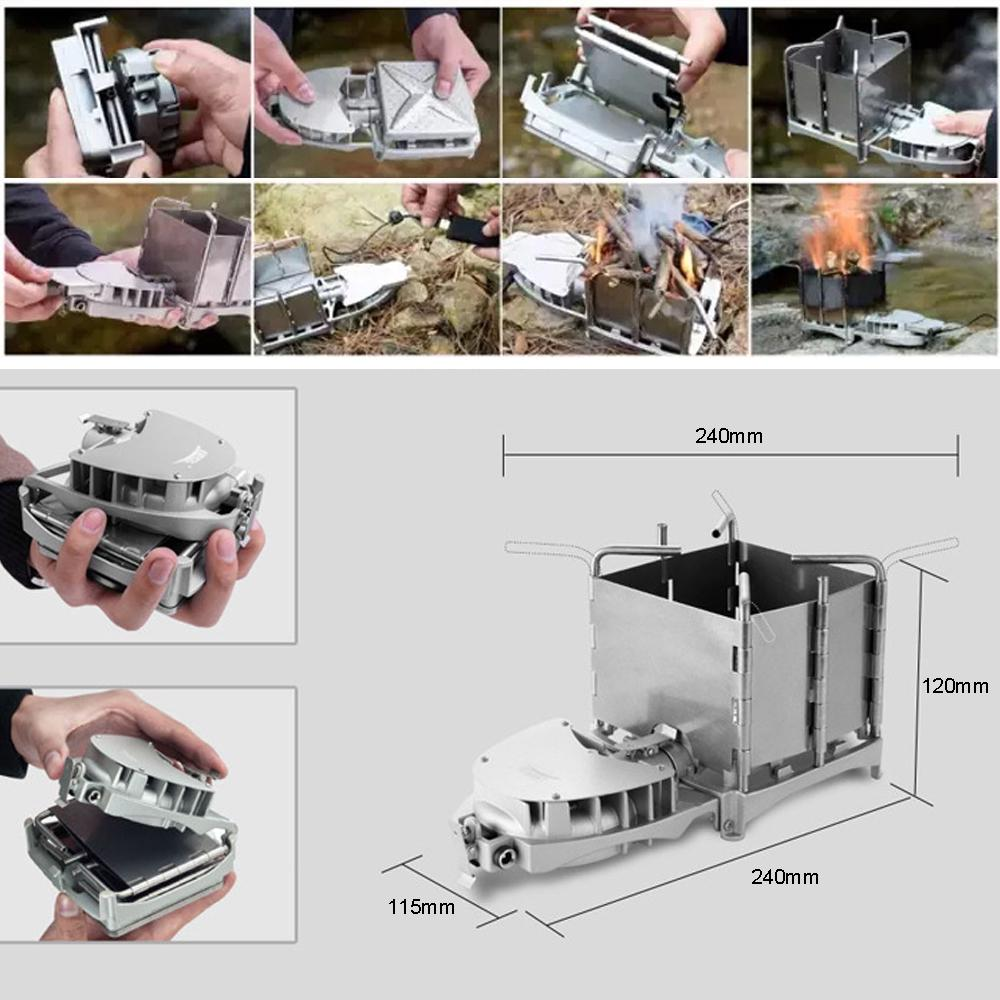 Details about  /New 6000W Camping Outdoor Wood Burning Stove Grill BBQ Furnace Charcoal Cooker
