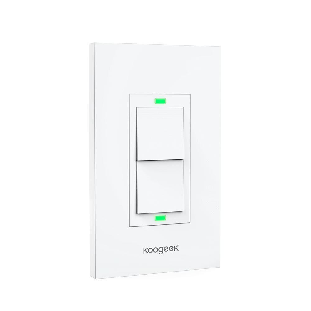 Koogeek Two Gang Wi Fi Enabled Smart Light Switch Remote Control One 1 2 Wire 10a No Neutral Presence Detector Timer Of 13
