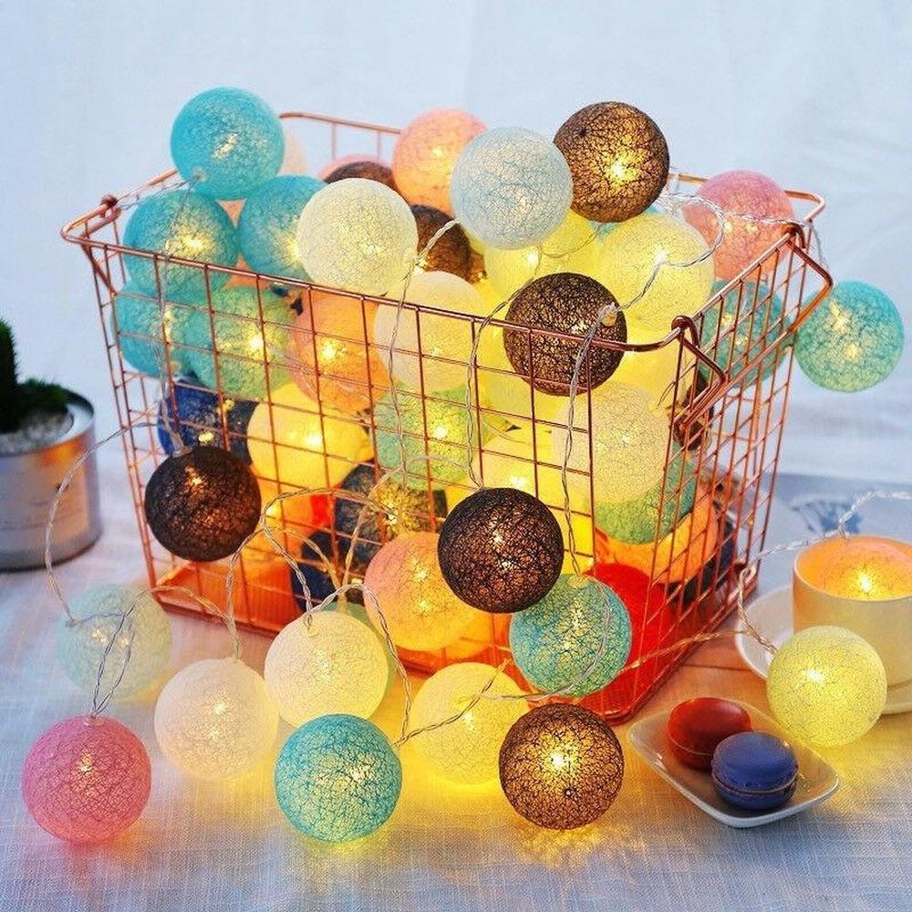 Праздничный освещение красочный хлопок мяч Led String Рождественская свадебная вечеринка Фея Огни 3м 20LED фото