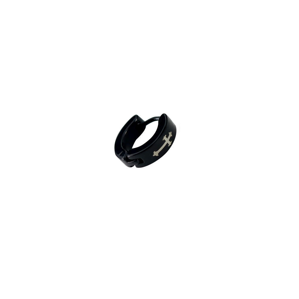 2276b76621ac Cruz negra para oreja de hombre aro colgante pendientes brazalete ...
