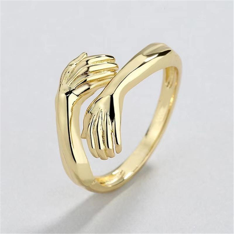 Silver Color Heart Love Hug Hands One Size Adjustable Ring Nice Jewelry G4G4