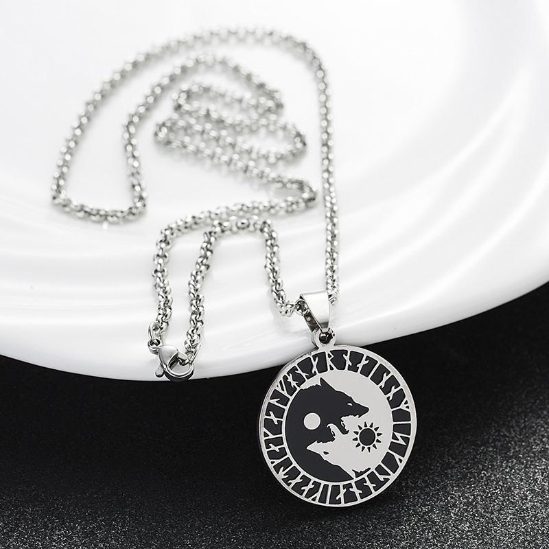 Wolf Sonne Mond Viking Wolf Kopf Halskette Edelstahl Talisman Anhänger