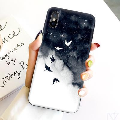 Black Painted Pattern Soft TPU Matte Slim Profile Phone Case For iPhone Samsung Huawei Xiaomi Meizu