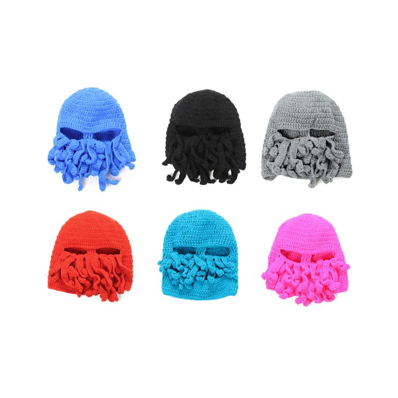 Invierno cálido divertido Unisex punto esquí sombreros máscara tapa ...