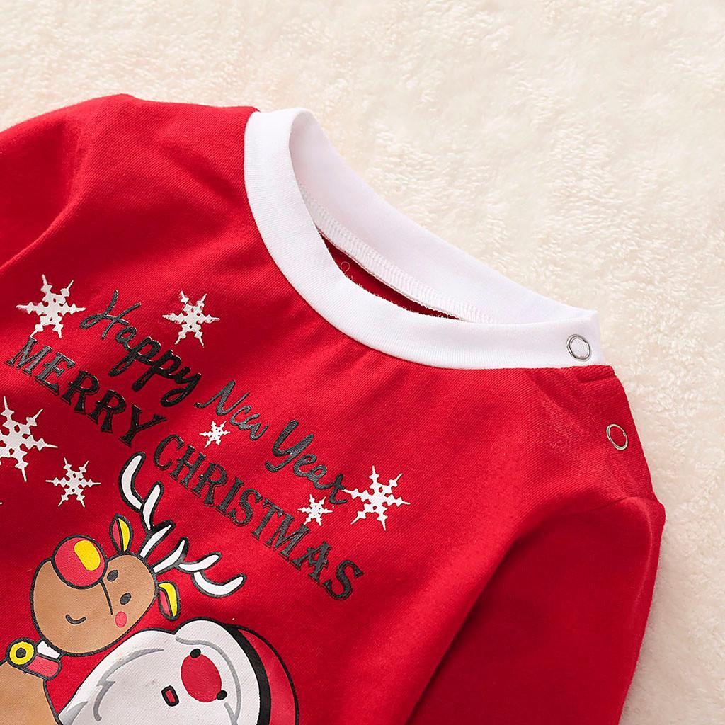 New Toddler Baby Boys Girls Christmas Santa Fawn Print Pajamas Sleepwear Outfits