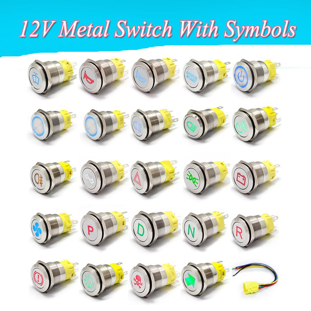 12mm LED illuminated Metal Momentary Push Button Switch Boat Car 1A//12V CE
