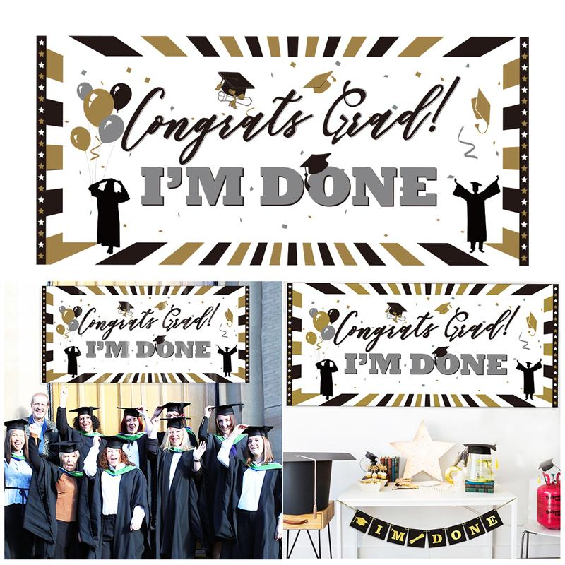 d9db1f37ed9b UNOMOR Congrats Grad I M DONE Sign Banner Classic Graduation Party ...
