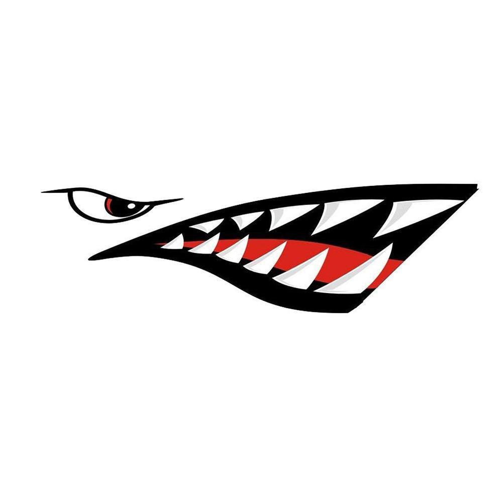 2 Pairs Skeleton Fish Shark Mouth Kayak Canoe Decals Fishing Boat Graphics