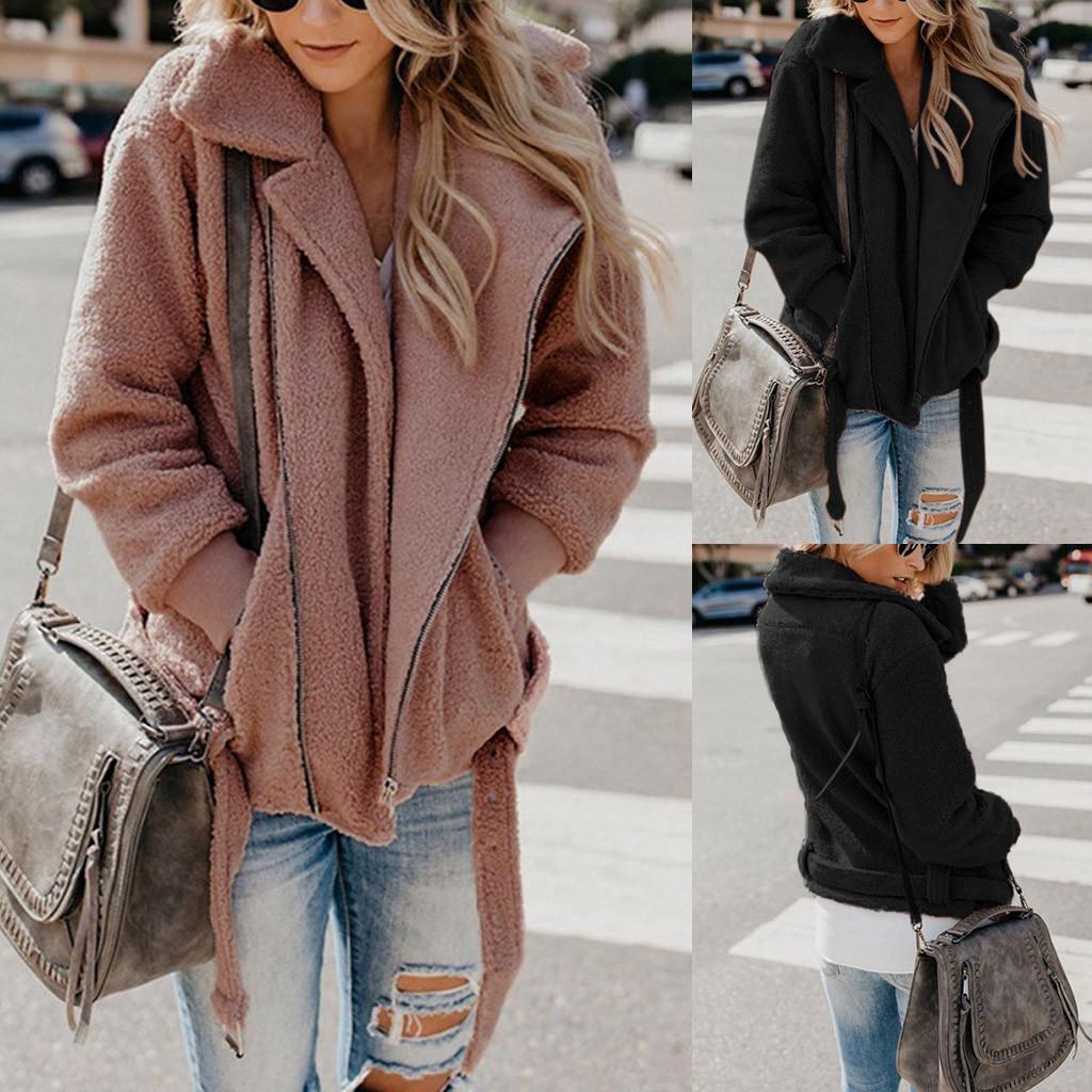 Женщины Lapel Цип Up Faux Мех стрижка нечетких Руна Куртка Тедди Медведь Пальто Теплый – купить по низким ценам в интернет-магазине Joom