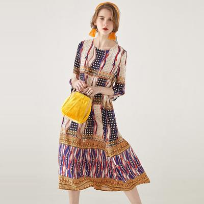 f4585d5cc77fb1 WTEMPO Silk dress female spring and summer print round neck long section A  word silk holiday