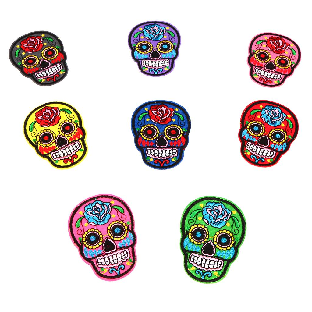 8pcs Iron//Sew On SUGAR SKULL//DAY OF THE DEAD Motif Embroidery Patch Applique