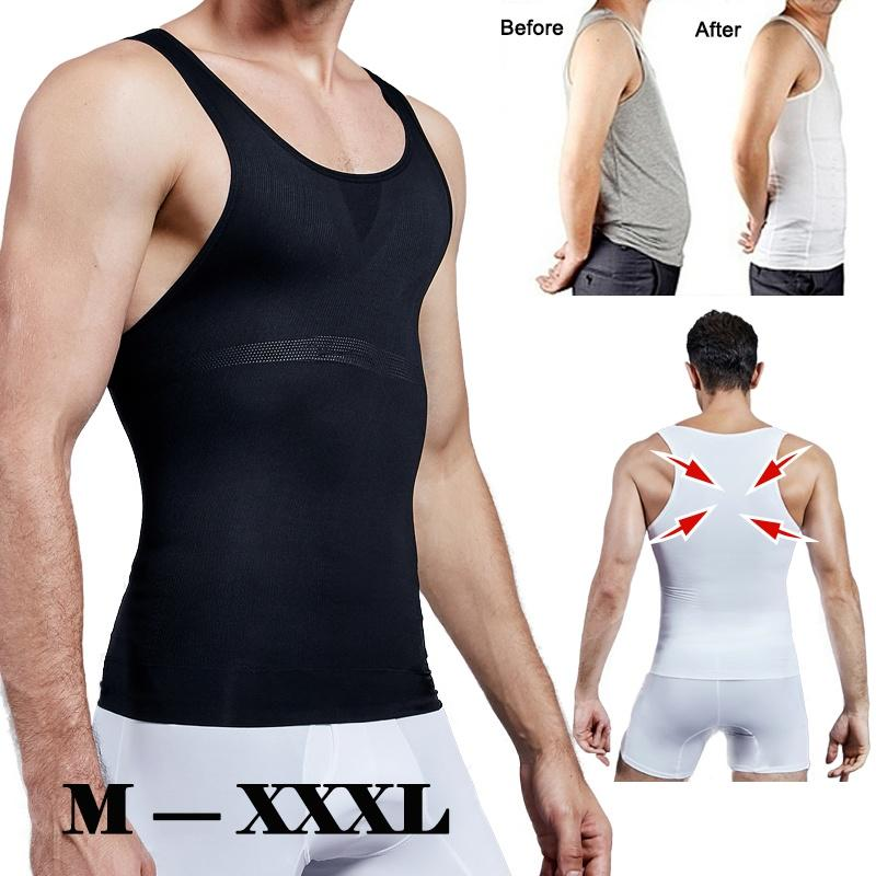 Men Compression Shirt Body Slimming Tank Top Shaper Tight Undershirt Sweat Vest