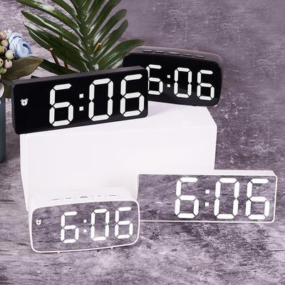Multi-Function LED Mirror Alarm Clock Digital Snooze Table Clock Wake Up Light Electronic Large Date Time Temperature Display Home Decoration Clock