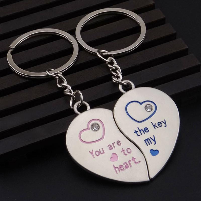 Romantic Couple Keychain Keyring Keyfob Valentine Day Lover Gift Heart Key Se SK