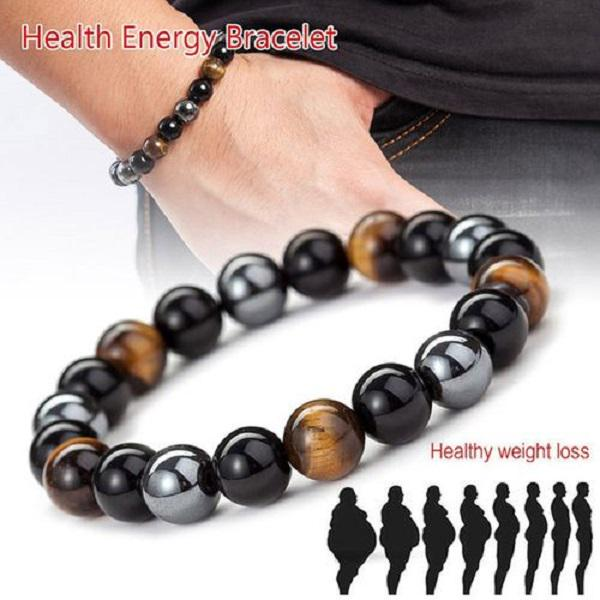 Set of necklace and bracelet with Tiger eye and Hematite for men and women