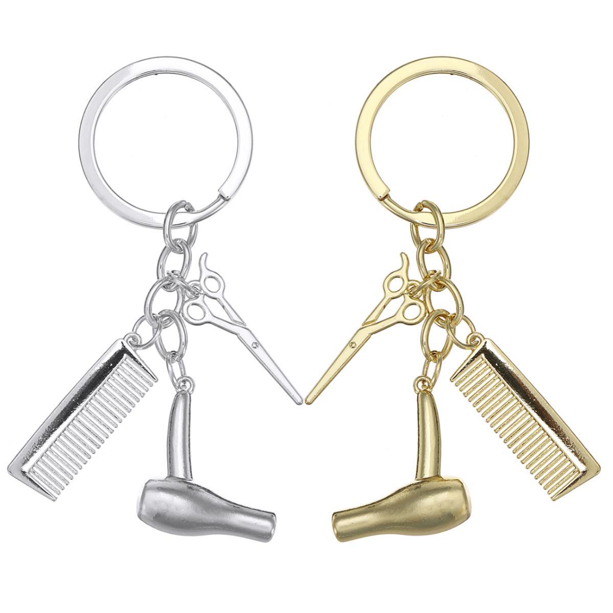 Ключевые цепи парикмахер подарок гребень ножницы для волос сушилка автомобиль Аксессуары Аксессуары Подарочный Ключ фото