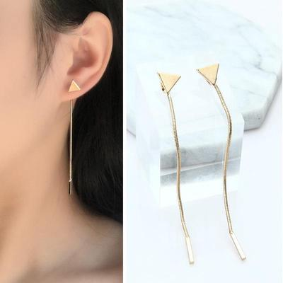 New-style Ornaments Korean Style Triangle Ear Nail Anti Allergic Long-flow Fashionable Earrings