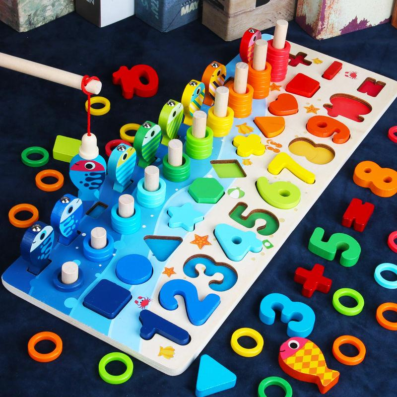 Wooden Math Toy Counting Game Toys with Color Sticks and Number Puzzle Blocks and Clock for Preschool Kids Education