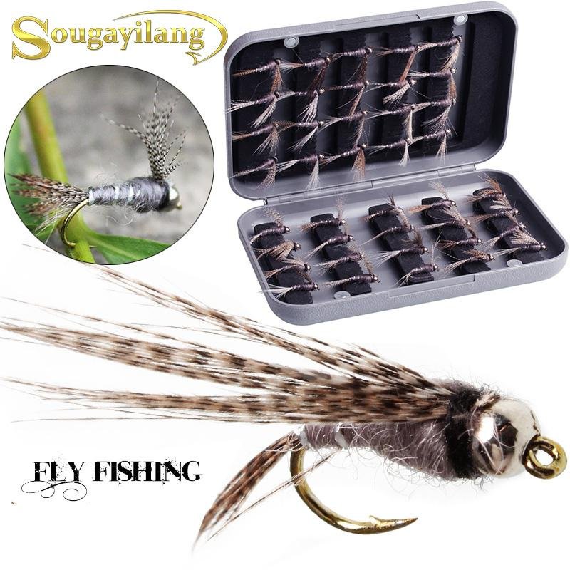 40pcs//box Sinking Bead Head Nymphs Flies Salmon Trout Wet Fly Fishing Lures Kit