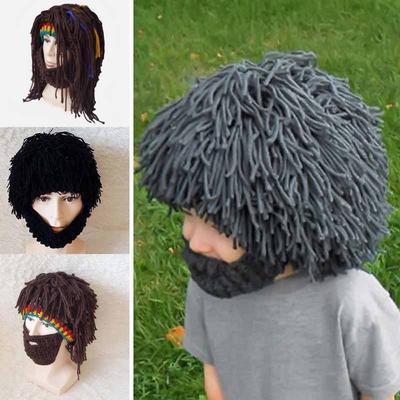 ec1cd38e542 Fun Handmade Hairy Wig Beard Caveman Winter Hats Warm Knitted Wild Mask Rasta  Caveman Caps Gifts
