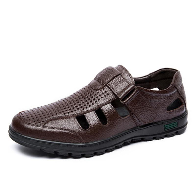 Genuine Leather Men Sandals Shoes Fretwork Breathable Fisherman Shoes Style Retro Gladiator Soft Bottom Summer Classics,Black,39