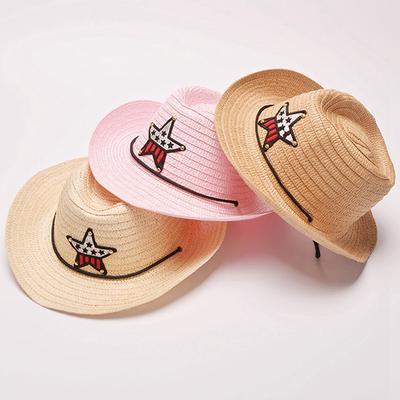 9d39dc3dd8b Outdoor Cowboy Hat Summer Straw Hat Boys Girls Children s Star Patch Sun Hat  Cute Kids Bucket