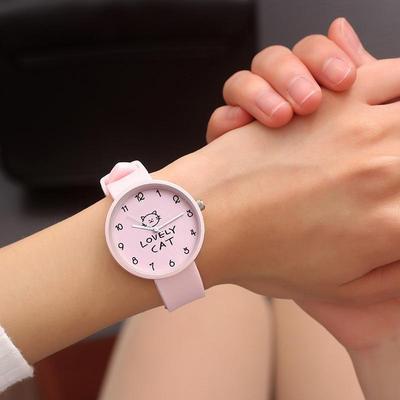 Cartoon Kids Quartz Watch Silicone Candy Color Student Watch Girls Clock Fashion Cat Watches Children Wristwatch