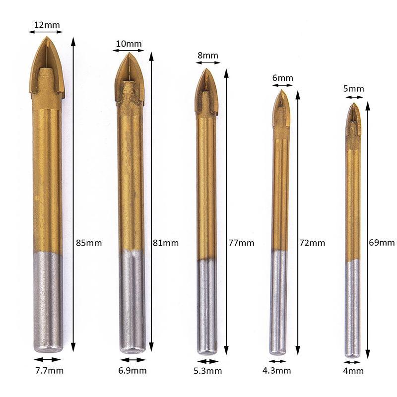 6//8//10//12/mm /à queue hexagonale Titane carbure foret /à verre Spear Point de Croix T/ête Foret