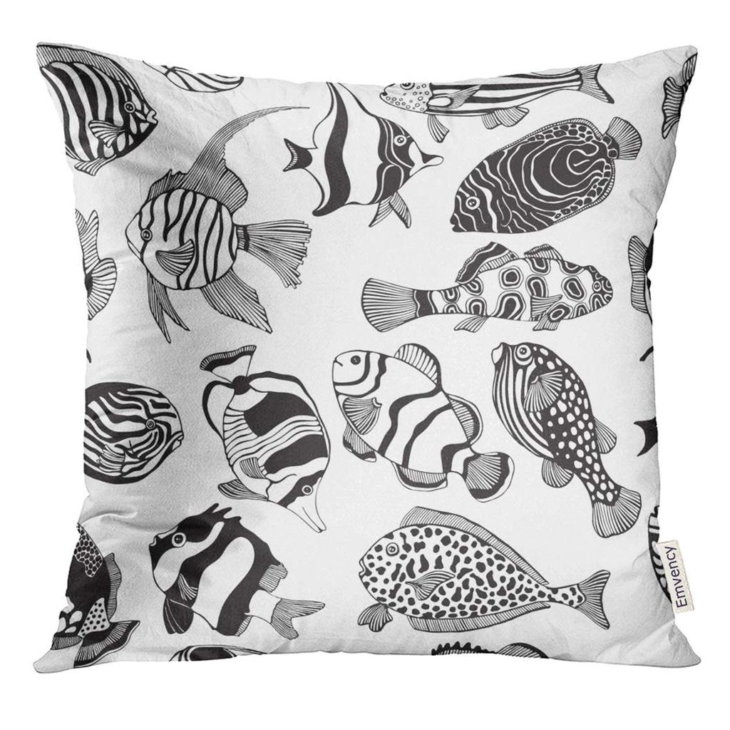 Doodle With Black And White Tropical Fish Exotic Coloring Book Page For Adult Monochrome Animal Pillow Case 16x16inch 40x40cm Buy At A Low Prices On Joom E Commerce Platform