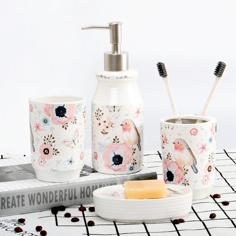 Four Piece Ceramic Bathroom, Bathroom Toothbrush Holder Set