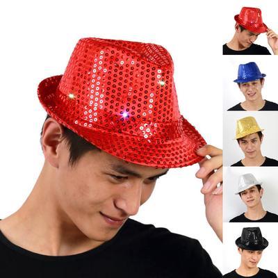 Adult Flashing Light Up Led Trilby Sequin Fancy Dress Cowboy Dance Jazz Cap  Hat 2aa854f7c3a9