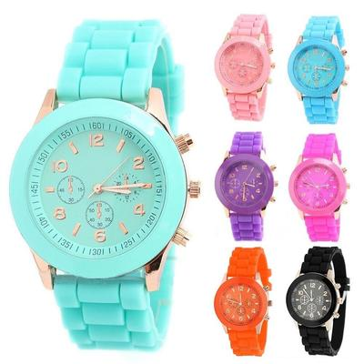 Unisex Candy Color Silicone Jelly Sports Quartz Wrist Watch