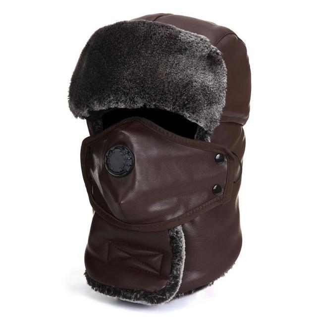 Men Winter Warmer Snow Ski Hat PU Leather Trooper For Outdoor Hiking Riding