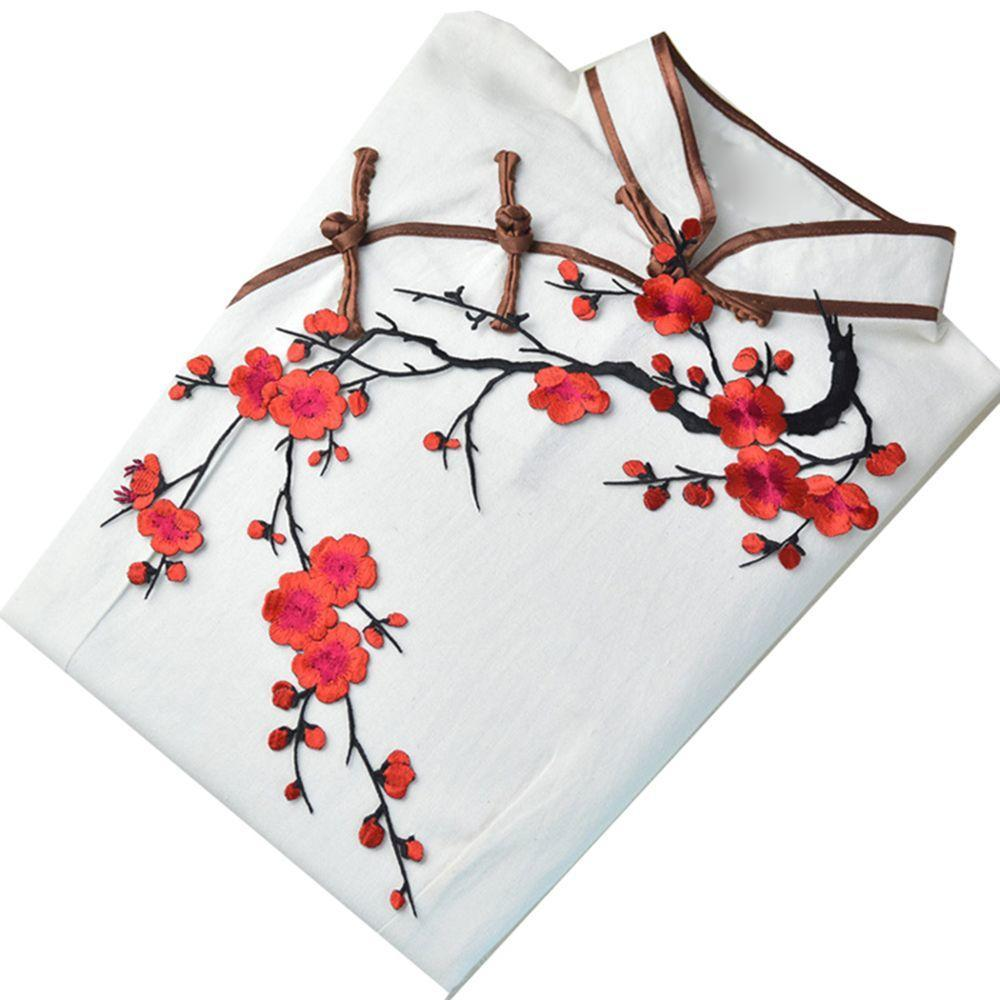 Flower Plum Neckline Lace Embroidery Sticker Applique Patch Craft Sewing Sew