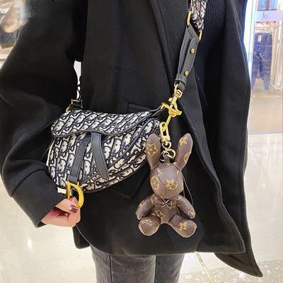 Rabbit Cow PU Leather Keychain Trendy Purse Pendant Presbyopia Bear Bulldog Bag Key Chain Ornament Car Key Ring Accessories Gift
