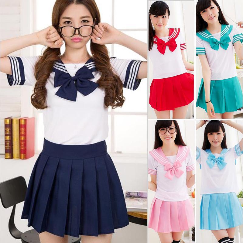 Japan School Girl JK Uniform Sailor Dress Cosplay Costume Fancy Dress Outfit+Tie
