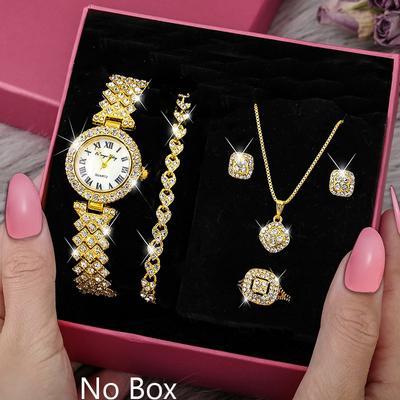 Luxury Diamond Jewelry&Watch Set For Women, Glittering Quartz Watch Bracelet Set, Crystal Necklace Earrings Ring Jewelry Festival Gifts