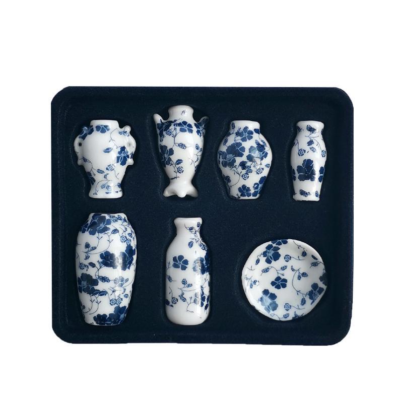 7Pcs//Set 1:12 Dollhouse miniatures porcelain vase doll house ceramic accessor*ss