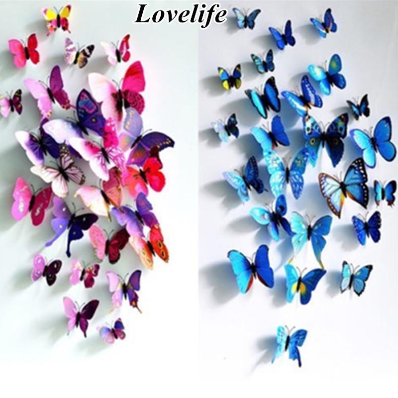 12pcs стикер арт дизайн Термоаппликации стены наклейки Дом Декор комната украшения 3D бабочки