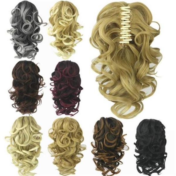 Женщины блондинка хвост Curly Хвост расширение синтетических поддельные хвосты Специальный фото