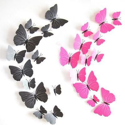12pcs 3D Butterfly Wall Stickers Vivid Decal Kitchen Room Home DIY Art Decor Set