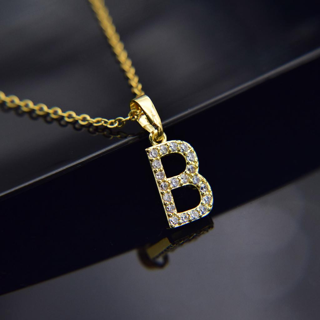 Cubic Zircon Alphabet Pendants Gold Silver Color Copper Mini A Z Letter Pendant Necklace Shinning 26 Initial Collares Jewelry